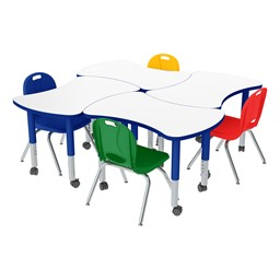 Preschool Bow Tie Mobile Collaborative Table w/ Whiteboard Top & Assorted Color Chair Set