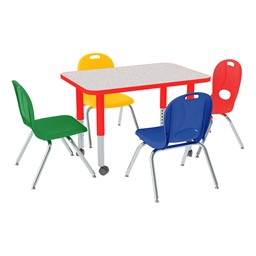 """Rectangle Adjustable-Height Preschool Table & Four Assorted Color Structure Series Preschool Chairs Set (24"""" W x 36"""" L)"""
