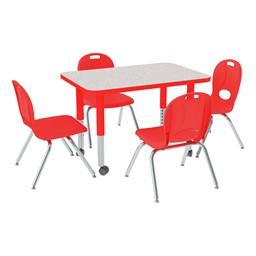 "Rectangle Adjustable-Height Preschool Table & Chair Set (24"" W x 36"" L)"