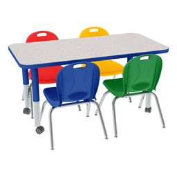 """Rectangle Adjustable-Height Preschool Table & Assorted Color Chair Set (24"""" W x 48"""" L)"""