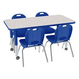 "Rectangle Adjustable-Height Preschool Table & Chair Set (24"" W x 48"" L)"