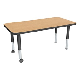 "Rectangle Oak Adjustable-Height Mobile Preschool Activity Table - 24"" W x 48"" L"