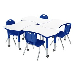 Preschool Bow Tie Mobile Collaborative Table w/ Whiteboard Top & Chair Set
