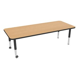 "Rectangle Oak Adjustable-Height Mobile Preschool Activity Table - 30"" W x 72"" L"