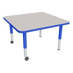 Square Adjustable-Height Mobile Preschool Activity Table - Gray Top, Blue Edge Band