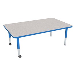 Rectangle Adjustable-Height Mobile Preschool Activity Table - Gray Top, Blue Edge Band