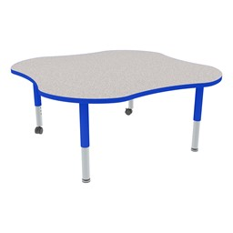 Clover Adjustable-Height Mobile Preschool Activity Table - Gray Top/Blue Edge Band