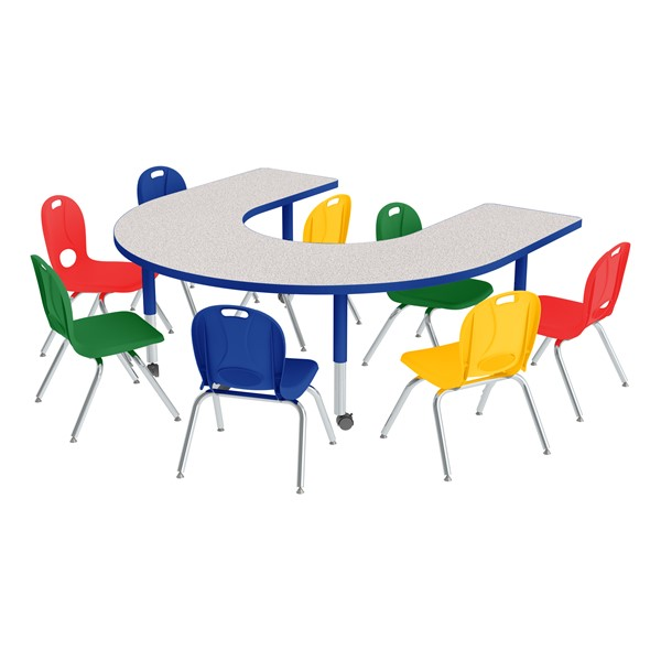 "Horseshoe Adjustable-Height Preschool Table & Eight Assored Color Structure Series Chairs Set (66"" W x 60"" L) - 12"" Seat Height"
