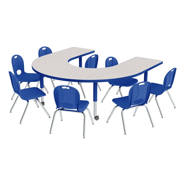 "Horseshoe Adjustable-Height Preschool Table & Eight Structure Series Chair Set (66"" W x 60"" L) - 12"" Seat Height"