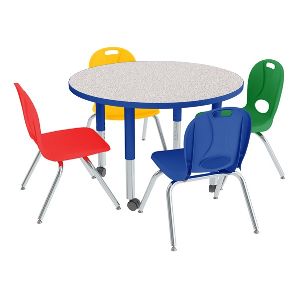 """Round Adjustable-Height Preschool Table & Four Assorted Color Structure Series Preschool Chairs Set (36"""" Diameter) - 14"""" Seat Height"""