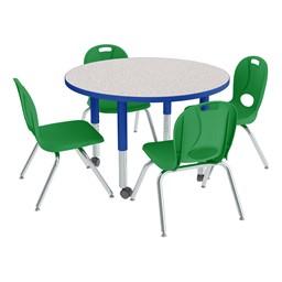 "Round Adjustable-Height Preschool Table & Chair Set (36"" Diameter)"