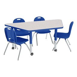 Trapezoid Adjustable-Height Preschool Table & Chair Set