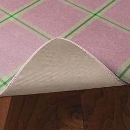 Pink & Green Plaid Rug - Skid-Resistant Backing