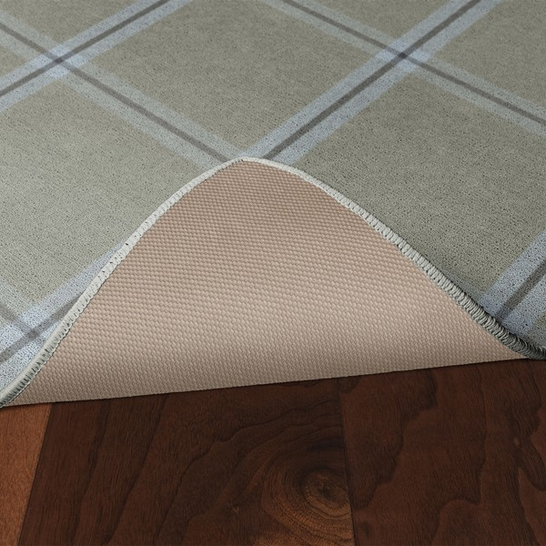 Blue & Gray Plaid Rug - Skid-Resistant Backing