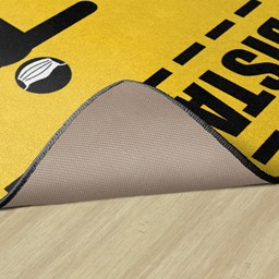 Keep A Safe Distance Washable Rug - Backing