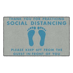 Thank You For Social Distancing Washable Rug - Rectangle - Gray/Teal Feet
