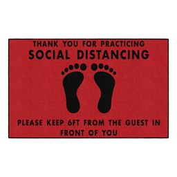Thank You For Social Distancing Washable Rug - Rectangle - Red/Black Feet