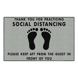 Thank You For Social Distancing Washable Rug - Rectangle - Gray/Black feet