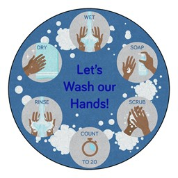 Let's Wash Our Hands Washable Rug - Round