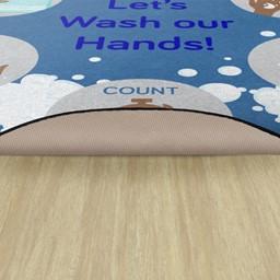 Let's Wash Our Hands Washable Rug - Backing