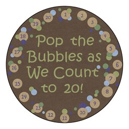 Pop The Bubbles Washable Rug - Round - Earthtone