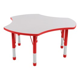 Cog Adjustable-Height Preschool Collaborative Table - Gray w/ Red Edge