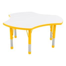 Cog Adjustable-Height Preschool Collaborative Table w/ Whiteboard Top - Yellow Edge