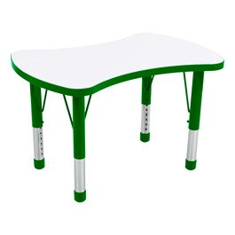 Bow Tie Adjustable-Height Preschool Collaborative Table w/ Whiteboard Top - Green Edge