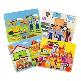 Felt Storyboards Set w/ Storage Bag - Construction, Fire, Police, School
