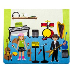 "Magnetic Dry Erase/Flannel Board Preschool Teacher's Easel w/ Accessories (137 Pieces) – 35 1/2"" W x 52"" H - Music Studio felt storyboard"