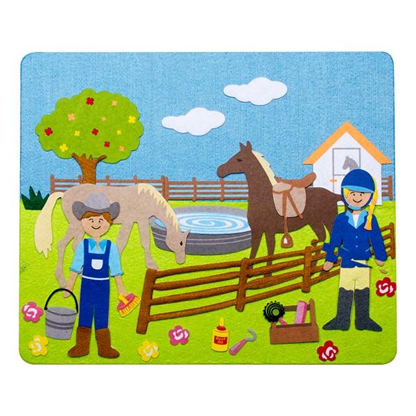 Felt Storyboard - Horses - Felt pieces on storyboard shown