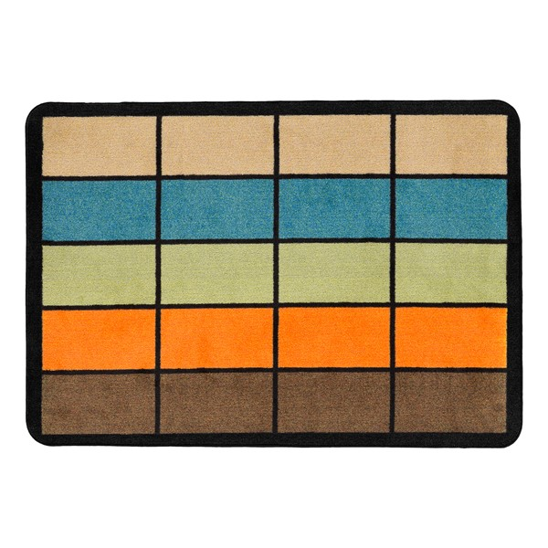 "Classroom Squares Seating Rug - Neutral (6' W x 8' 4"" L)"