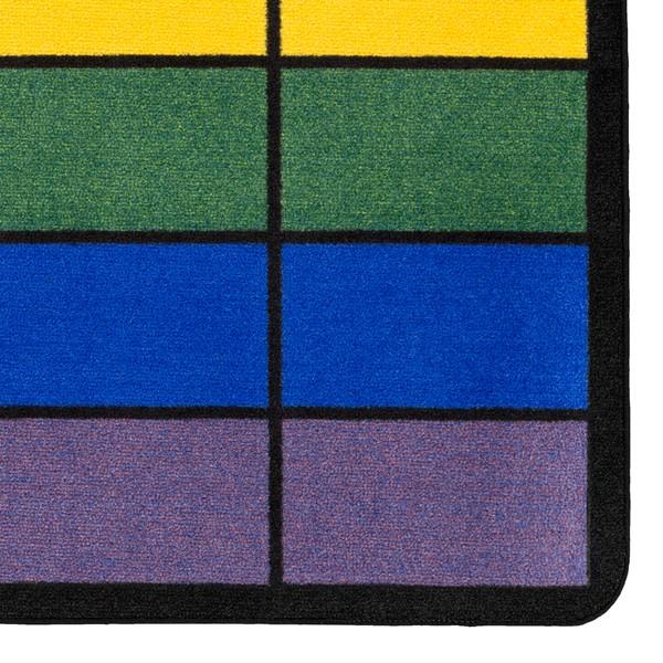"Classroom Squares Seating Rug - Bright (7' 6"" W x 12' L) - Detail"
