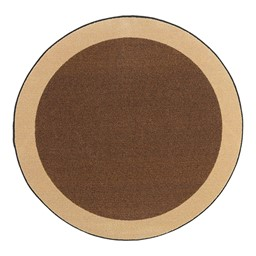 Solid Classroom Rug w/ Color Block Border - Round - Chocolate/Sand
