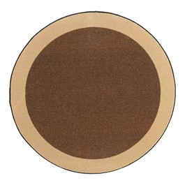Solid Classroom Rug w/ Color Block Border - Round (6\' Diameter) - Chocolate/Sand