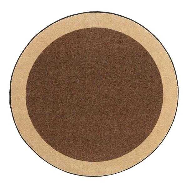 Solid Classroom Rug w/ Color Block Border - Round (6' Diameter) - Chocolate/Sand