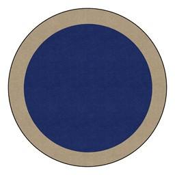 Solid Classroom Rug w/ Color Block Border - Round (6' Diameter) - Navy/Sand