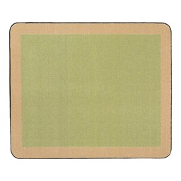 Solid Classroom Rug w/ Color Block Border - Rectangle - Fern/Sand