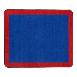 "Solid Classroom Rug w/ Color Block Border - Rectangle (10\' 9"" W x 13\' 2\"" L) - Blue/Red"