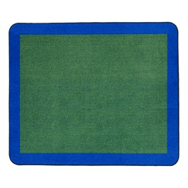 "Solid Classroom Rug w/ Color Block Border - Rectangle (7\' 6\"" W x 12\' L) - Green/Blue"