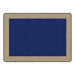 "Solid Classroom Rug w/ Color Block Border - Rectangle (10' 9"" W x 13' 2"" L) - Navy/Sand"