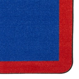 "Solid Classroom Rug w/ Color Block Border - Rectangle (10' 9"" W x 13' 2"" L) - Blue/Red"