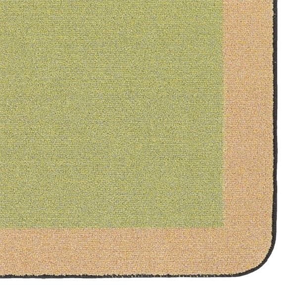 "Solid Classroom Rug w/ Color Block Border - Rectangle (10' 9"" W x 13' 2"" L) - Fern/Sand"
