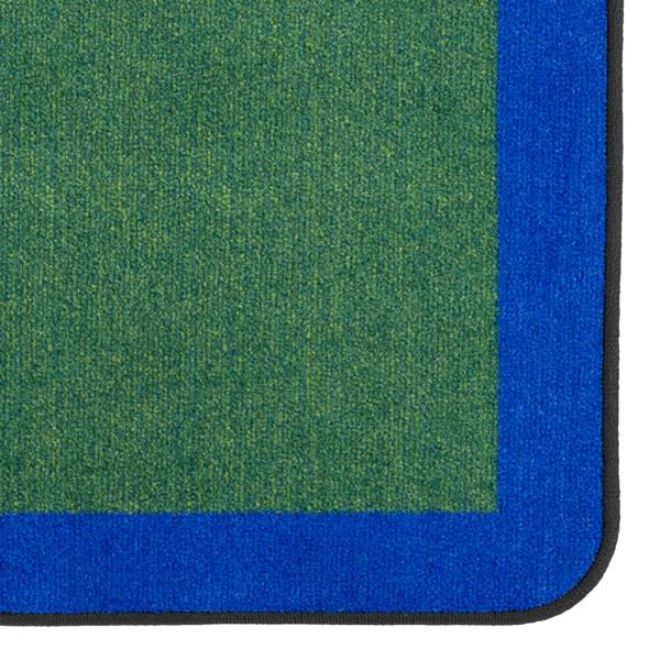 "Solid Classroom Rug w/ Color Block Border - Rectangle (7' 6"" W x 12' L) - Green/Blue"