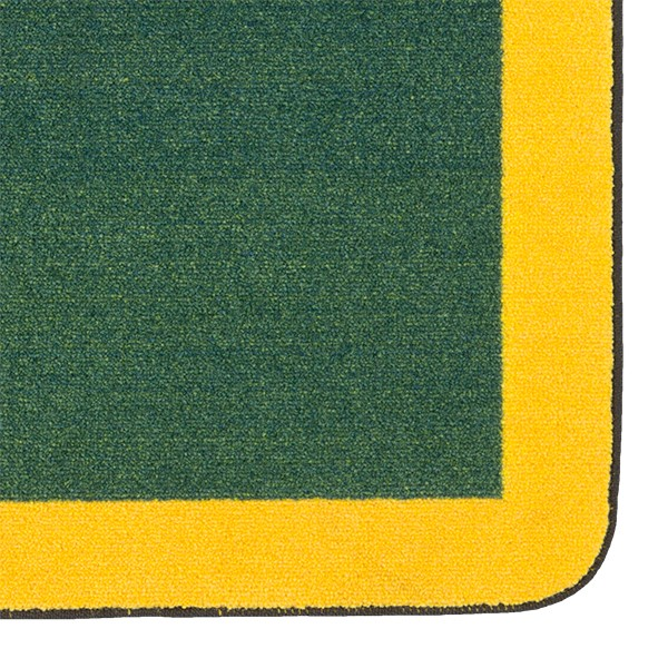 "Solid Classroom Rug w/ Color Block Border - Rectangle (10' 9"" W x 13' 2"" L) - Green/Yellow"