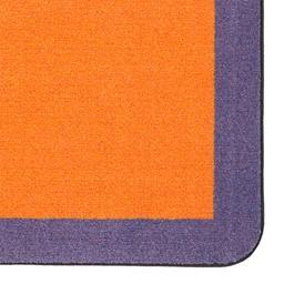 "Solid Classroom Rug w/ Color Block Border - Rectangle (7' 6"" W x 12' L) - Orange/Purple"