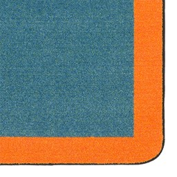 "Solid Classroom Rug w/ Color Block Border - Rectangle (10' 9"" W x 13' 2"" L) - Teal/Orange"