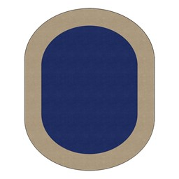 "Solid Classroom Rug w/ Color Block Border - Oval (7' 6"" W x 12' L) - Navy/Sand"