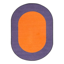 "Solid Classroom Rug w/ Color Block Border - Oval (10\' 9"" W x 13\' 2\"" L) - Orange/Purple"