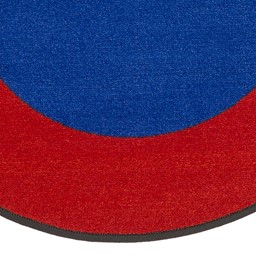 "Solid Classroom Rug w/ Color Block Border - Oval (7' 6"" W x 12' L) - Blue/Red"
